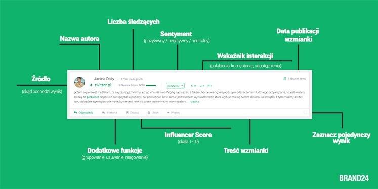 Jak znaleźć mikroinfluencera? - Grafika przedstawiająca widok wzmianki w panelu Brand24.