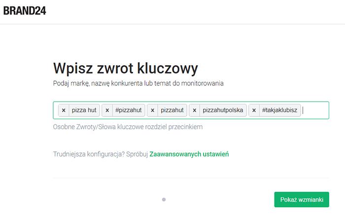 Jak znaleźć mikroinfluencerów? - Grafika przedstawiająca konfigurację projektu w Brand24 dla marki Pizza Hut.