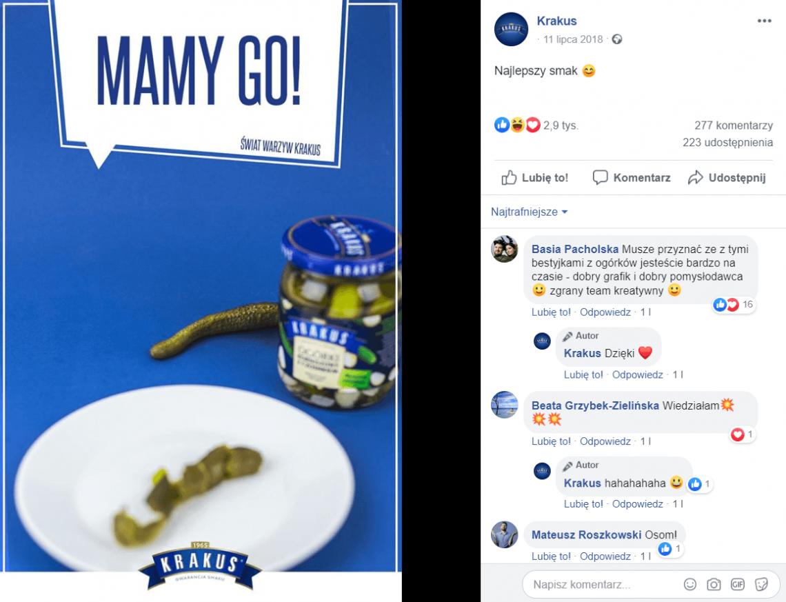 Real Time Marketing - przykład reakcji marki Krakus na wydarzenia związane z poszukiwaniem pytona w Polsce.