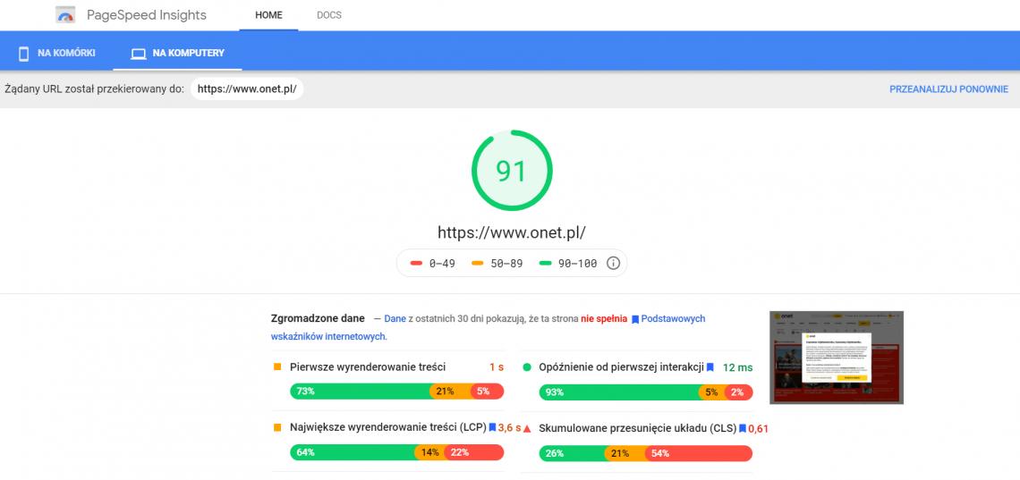Narzędzia do digital marketingu - Google PageSpeed Insight