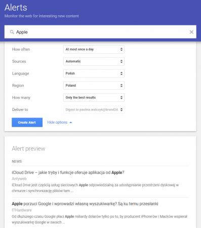 Wizerunek firmy w Internecie - narzędzie Google Alerts